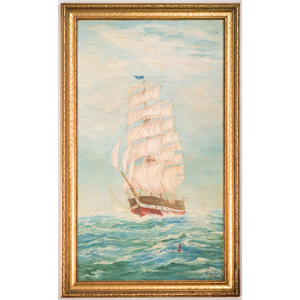 American School Painting of a Clipper at Sea, Signed H. Connell