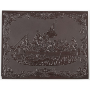 Rare Whole Plate Union Case, Washington Crossing the Delaware, Dark Brown [Berg 1-2]