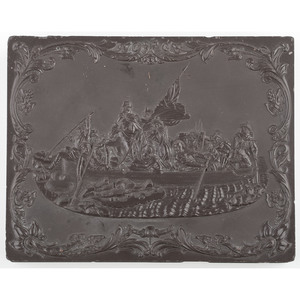 Whole Plate Union Case, Washington Crossing the Delaware, Dark Brown [Berg 1-2/3-1]