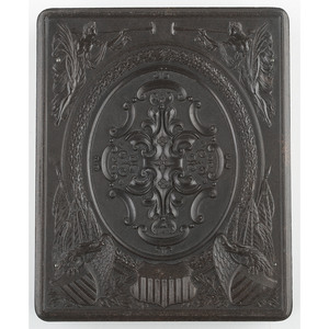 Very Very Rare Half Plate Union Case,  Washington Monument with Seraphs and Eagles Border, Dark Brown, [Berg 1-3R/1-6]