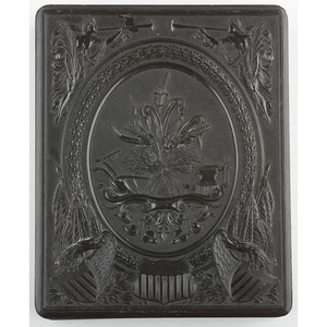 Rare Half Plate Union Case, Harvest Motif with Seraphs and Eagles Border, Black [Berg 1-5] with Bowdoin and Litch Mat