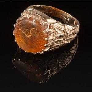 14k Gold Amber Ring