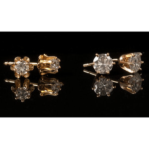 14k Gold Diamond Earrings, Lot of Two