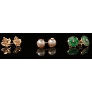 Earrings in Karat Gold, Lot of Six