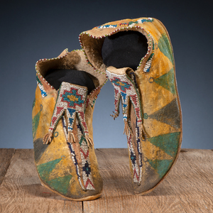 Mescalero Apache Beaded and Painted Hide Moccasins
