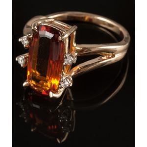 14k Gold Citrine and Diamond Ring