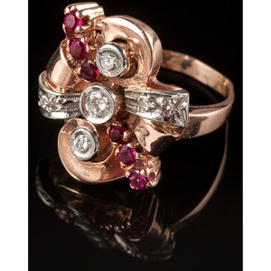 14k Rose Gold Retro Diamond and Ruby Ring