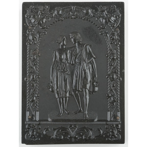 Very Rare Double Ninth Plate Union Case, Two Lovers Going to the Well, Black [Berg 1-16]