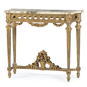 French Louis XVI-style Giltwood Console Table