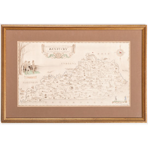 [Americana - Kentucky Map] Scarce 1933 Pictograph Map of Kentucky by Karl Smith, 12 by 21 inches, With Added Color and Framed