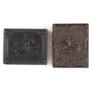 Two Quarter Plate Union Cases, Morning-Day, Aurora with the Genius of Light  and Cupid and the Stag, [Berg 1-185 & 1-28]