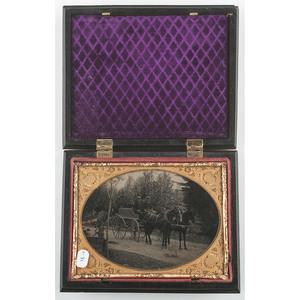 Very Rare Quarter Plate Union Case, Morning-Day Aurora With the Genius of Light 2, Black [Berg 1-31]