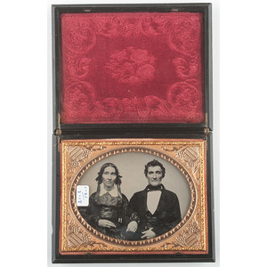 Very Very Rare Quarter Plate Union Case, Warning at the Green Spring, Black [Berg 1-21/3-18]
