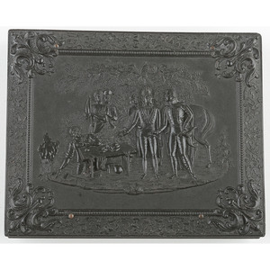 Quarter Plate Union Case, General Marion's Invitation to Dinner, Black [Berg 1-23]