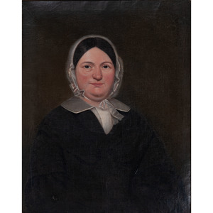 19th Century American Portrait of a Woman Oil on Canvas