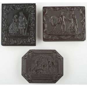 Three Quarter Plate Union Cases, General Marion's Invitation to Dinner, Parting of Hinda and Hafed, and Roger deCoverly and the Gypsies Fortune 2 [Berg 1-24, 1-29S, 1-38]