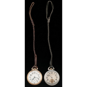 Elgin Open Face Pocket Watches With Leather Cords