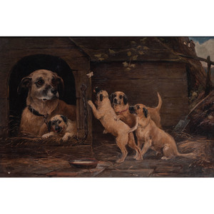 Oil on Canvas, Dog with Puppies