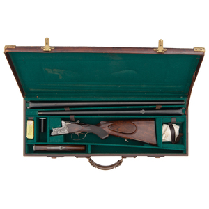 * Cased Relief Engraved Superimposed August Jung Two Barrel Rifle/Shotgun Set