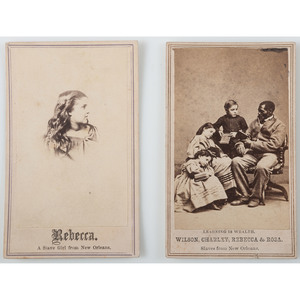 Slaves from New Orleans, Pair of CDVs Featuring Wilson Chinn, Rebecca, and Others