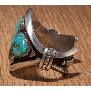 Julian Lovato (Kewa, b. 1922) Sterling Silver and Turquoise Cuff Bracelet