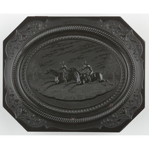 Very Rare Quarter Plate Octagonal Union Case, Horse Racing [Berg 1-46]