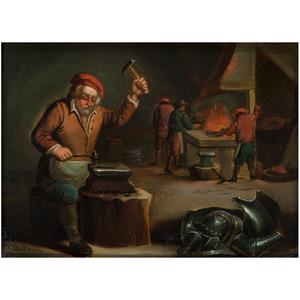 Manner of Adriaen Van Ostade (Dutch, 1610-1685) Oil on Tin