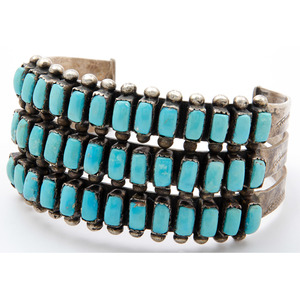 Zuni Petit Point Turquoise and Silver Cuff Bracelet