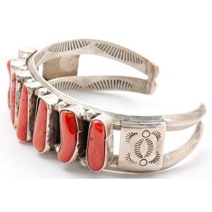 Navajo Silver and Coral Cuff Bracelet