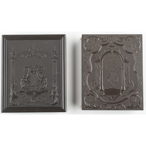 Two Rare Quarter Plate Union Cases Containing Daguerreotypes, Including Lyre in Wide Portal [Berg 1-33/45, 1-42]