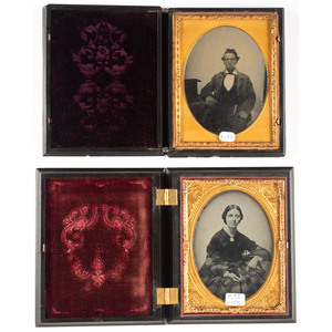Two Very Rare Quarter Plate Union Cases Including Lyre in Wide Portal with The Lord's Prayer on Reverse [Berg 1-45/1-33, 1-43]