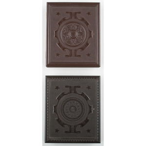 Two Quarter Plate Geometric Union Cases, Brown & Black [Berg 3-14 & Variant]
