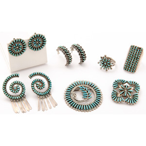 Zuni Silver and Turquoise Petit Point and Needle Point Jewelry