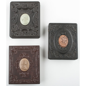 Three Very Rare Quarter Plate Union Cases Featuring Cameo Centers [Berg 3-20C, 3-23C, 3-25C]