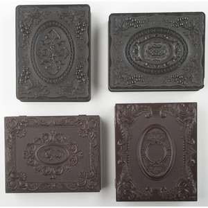 Four Scarce Quarter Plate Union Cases with Geometric/Scroll Designs [Berg 3-19, 3-20, 3-22, 3-24/3-44]
