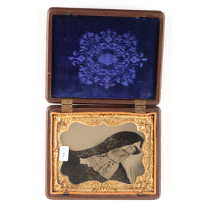 Scarce Quarter Plate Harvest Motif Union Case Containing Postmortem Tintype of a Girl [Berg 1-34]