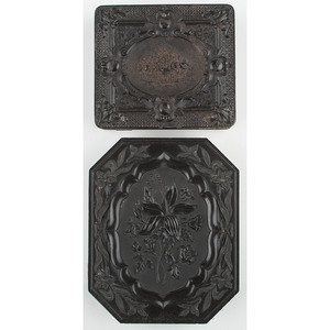 Two Floral Union Cases Including Very Rare Quarter Plate Case, Lillies 2, Containing Daguerreotype by Anson [Berg 2-12, 2-40R]