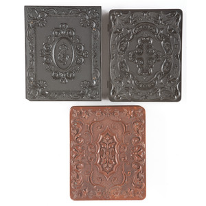 Three Scarce Quarter Plate Geometric Union Cases, One Containing Portrait of Baby, Possibly Postmortem [Berg 3-24, 3-37, 3-43]