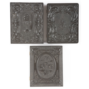 Three Scarce Quarter Plate Floral Cases Containing Portraits of Men and Women, One Holding a Cased Image [2-7/3-39, 2-9, 2-10]