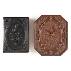 Two Very Rare Union Cases with Floral Designs, Including Lillies 1 with Tintype of a Group of Young Women, Plus Spray of Flowers [Berg 2-11, 2-124]