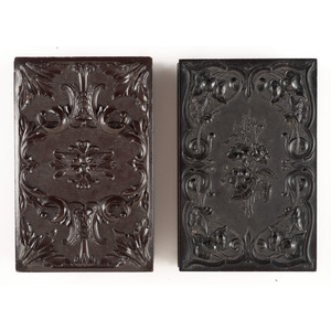 Two Double Ninth Plate Union Cases with Floral and Geometric Designs [Berg 2-14S, 3-47]
