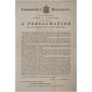 Massachusetts Governor John Andrew, Proclamation for a Day of Humiliation and Prayer, 1862