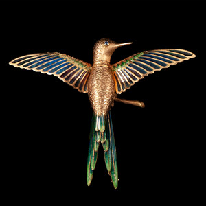 18k Yellow Gold Hummingbird Whimsy Brooch