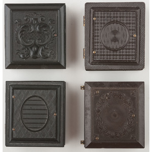 Four Assorted Sixteenth Plate Geometric Union Cases Containing Tintypes of Men, Women, and Children [Berg 3-459, 3-495, 3-584, 3-598]
