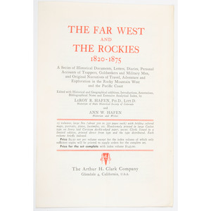 "[Western Americana] Arthur H. Clark Series ""The Far West and the Rockies,"" Complete in 15 Volumes with Prospectus"