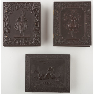 Three Rare Ninth Plate Figural Union Cases, One Containing Relievo Ambrotype of Young Child [Berg 1-154, 1-160, 1-192]