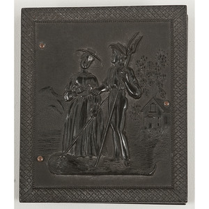 Scarce Ninth Plate Union Case, American Gothic 1, Containing Tintype of Young African American Girl [Berg 1-150]