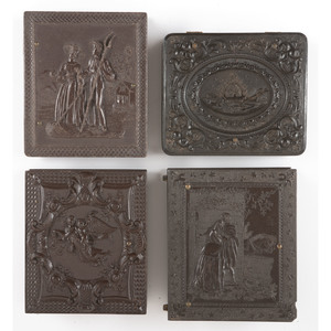 Four Scarce and Rare Ninth Plate Figural Union Cases Containing Daguerreotypes and Ambrotypes of Men, Women, and Children [Berg 1-143, 1-148R, 1-153, 1-191]