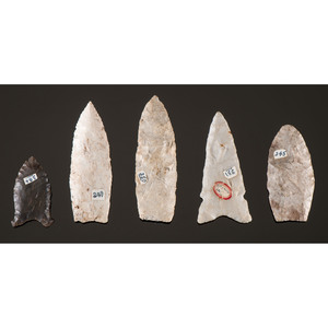 Five Paleo Points, From the Collection of Richard Bourn, Sr., Old Saybrook, Connecticut