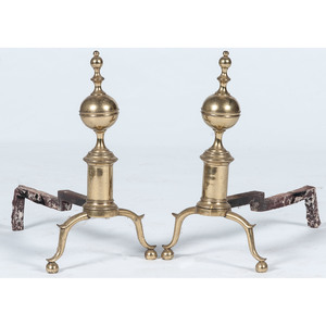 Federal-style Brass Andirons